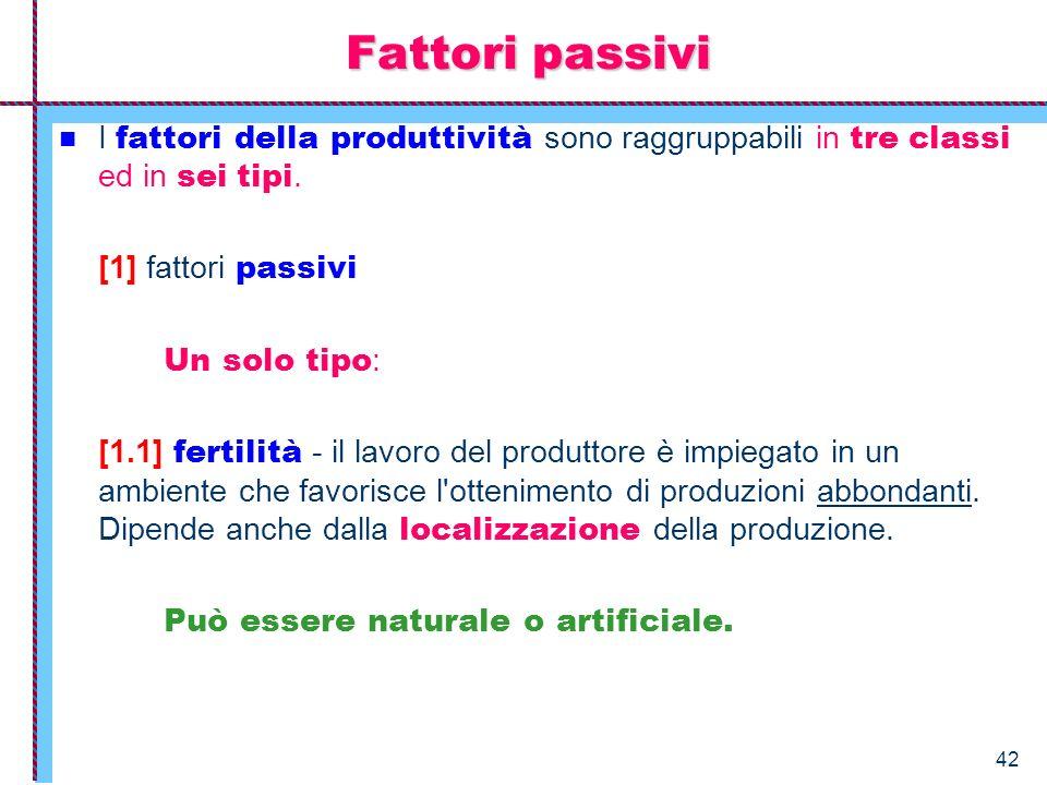 Fattori passivi I fattori della produttività sono raggruppabili in tre classi ed in sei tipi. [1] fattori passivi.